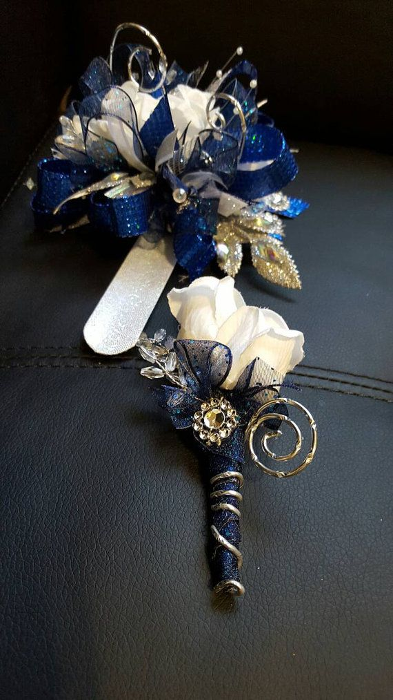 royal blue and silver wedding centerpieces%0A Custom order Prom Royal blue and silver cobalt blue prom corsage set wrist  corsage set silk prom corsage available in other colors  Wedding FlowersProm