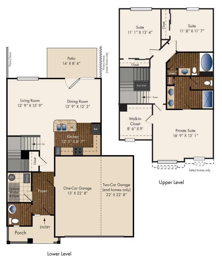 Three Bedroom Townhome 1762 Sq. Ft. *One Or Two Direct