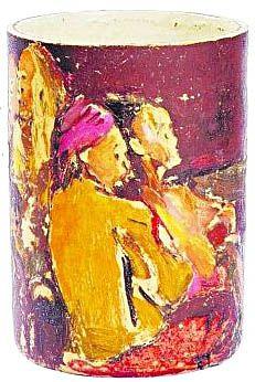 Xu BeiHong (Chinese, 1895-1953) | Malay Dancers, c. 1940s. Oil on ceramic