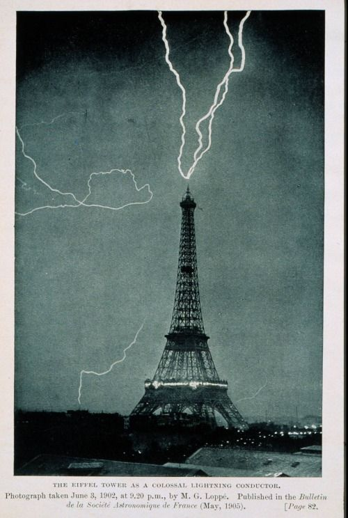 Lightning strikes the Eiffel Tower on June 3, 1902, at 9:20 PM local time; one of the earliest photographs of lightning in an urban setting