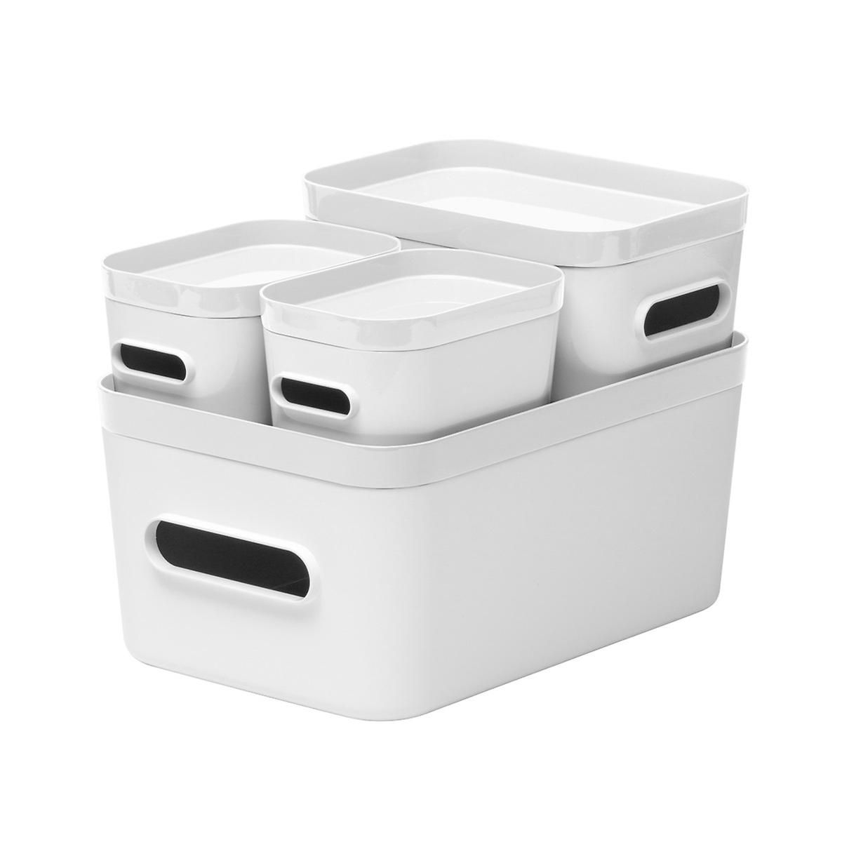 White Compact Plastic Bins 4 Pack With White Lids Plastic Bins