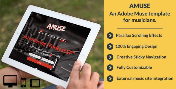 Review Amuse-Adobe Muse Music Templatein each seller & make