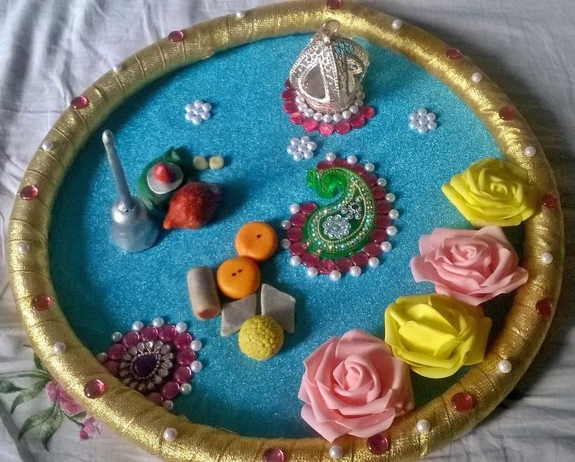 Aarti thali decoration ideas for janmashtami pooja rooms room accessories also feather touch art  craft snehal on pinterest rh