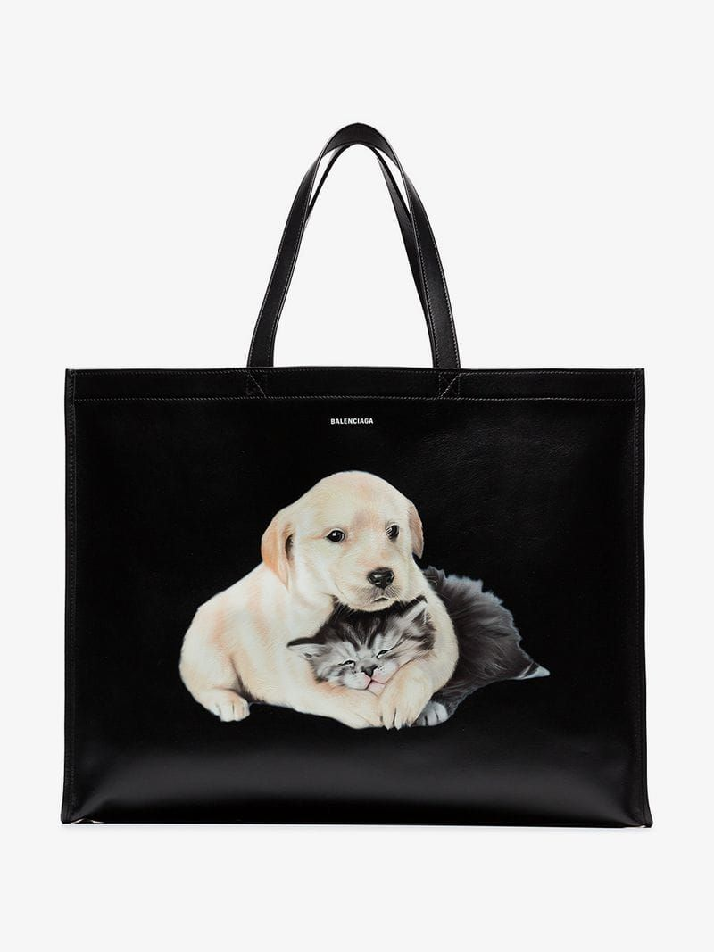 d69e655a6 BALENCIAGA | Black Dog And Cat Leather Tote | $3,180 | This black  Balenciaga Dog and cat leather tote is crafted in Italy from leather in a  large ...