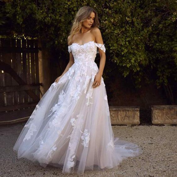 Photo of white wedding dress Lace applique Wedding Dresses Off the Sh…
