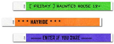 """Make admissions easy this year with our DIY Haunted House 3/4"""" Tyvek Wristbands. Customize the font, text written, and color to match your Haunted House theme this year!"""