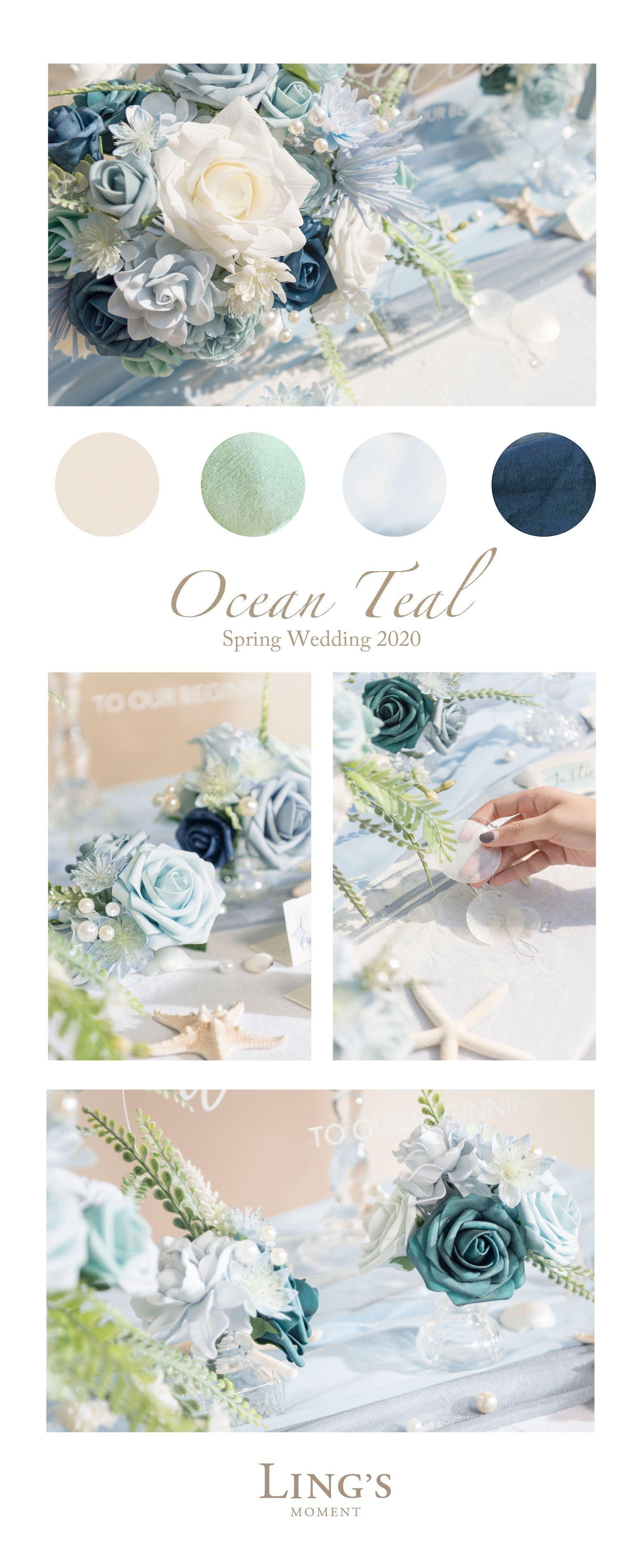 Spring Wedding 2020 - Ocean Teal Wedding Decor, Flowers Combo 10% Off Now!
