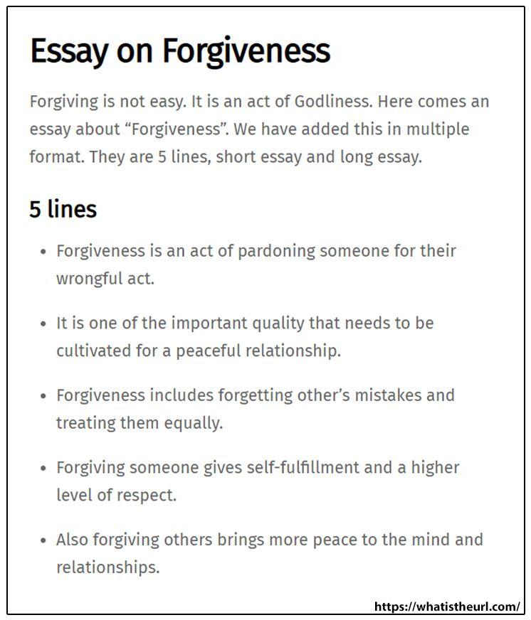 Essay On Forgivenes Short Forgiveness Importance Of Female Education