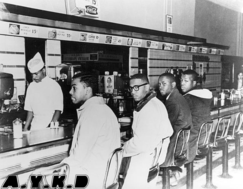 Four black men sat down at a lunch counter at Woolworths in Greensboro NC to protest segregation, 1960.