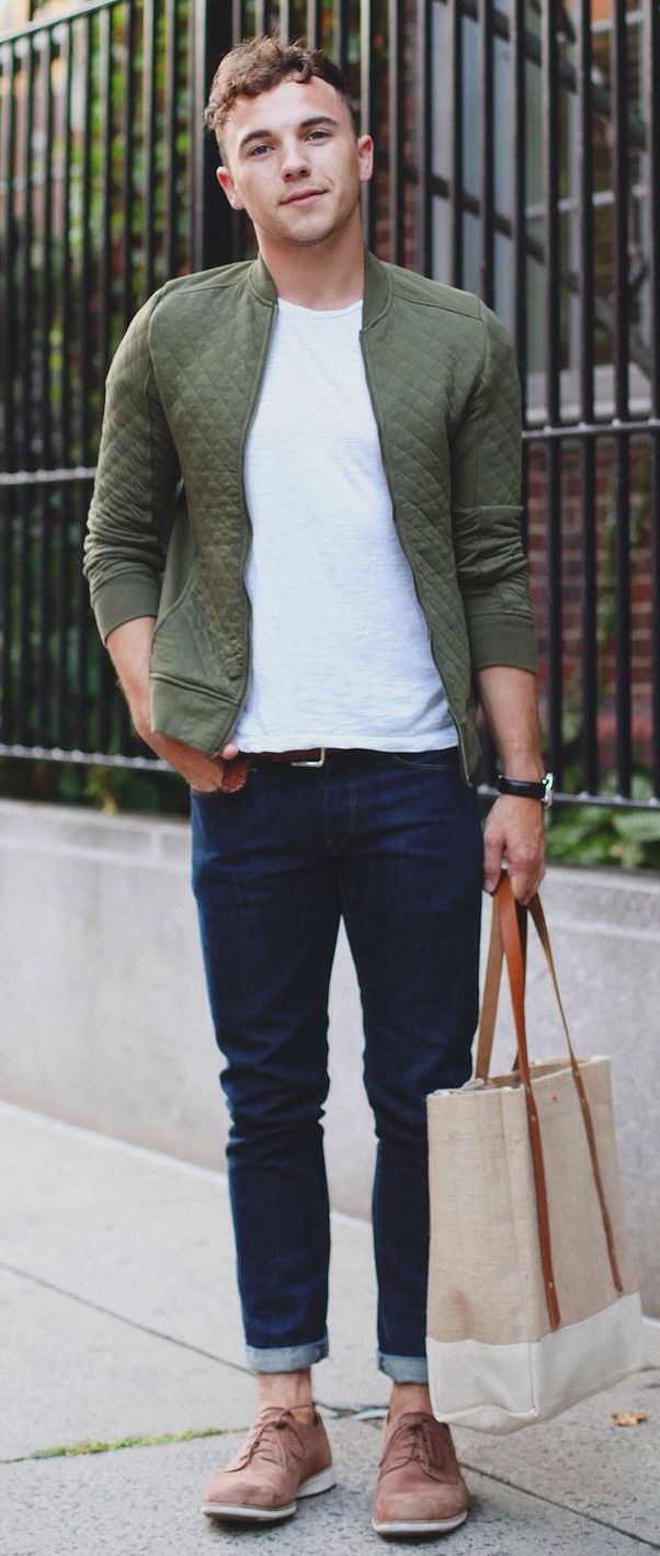 Olive Green Quilted Cardigan White Tee Dark Skinny Jeans
