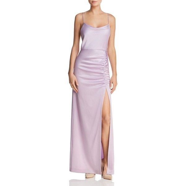 Diana Ruched Satin Maxi Dress - Lilac Alice & Olivia
