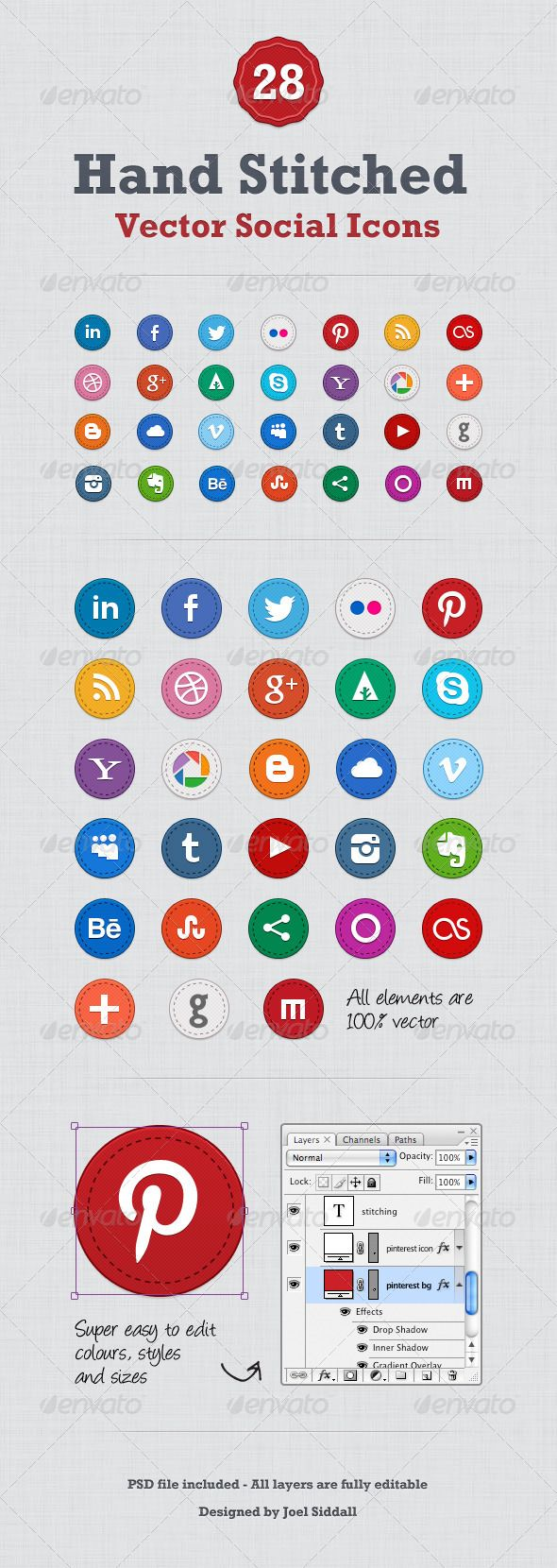 Hand Stitched Social Media Icons GraphicRiver Sweet