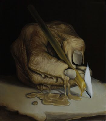 The Epilogue by Mihai Criste. Christe is a Romanian surrealist painter who is fascinated with abstraction, mystery and surrealism. Inspired by famous surreallists like Dali. from: http://www.mihaicriste.blogspot.be/