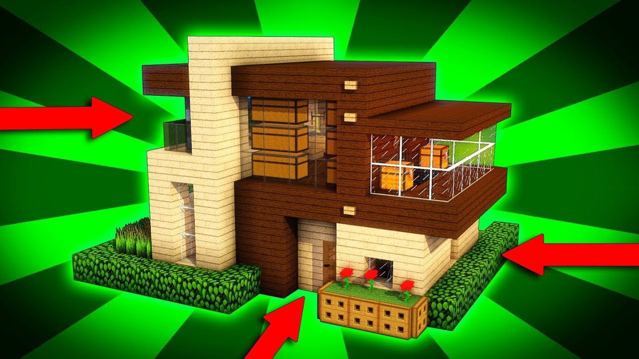 Minecraft How To Build A Modern Wooden House Tutorial 1 Easy Moder Modern Wood House Modern Wooden House Diy Projects Made From Wood