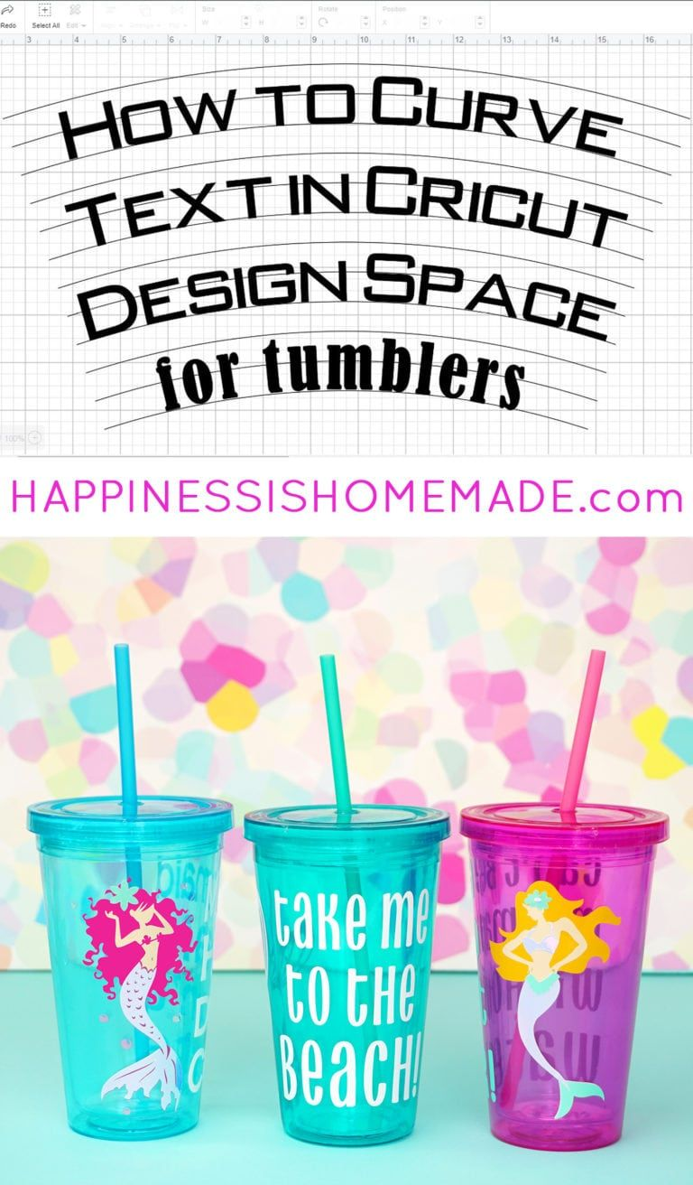 How to Curve Text for Tumblers in Cricut Design Space - Happiness is Homemade #cricutvinylprojects