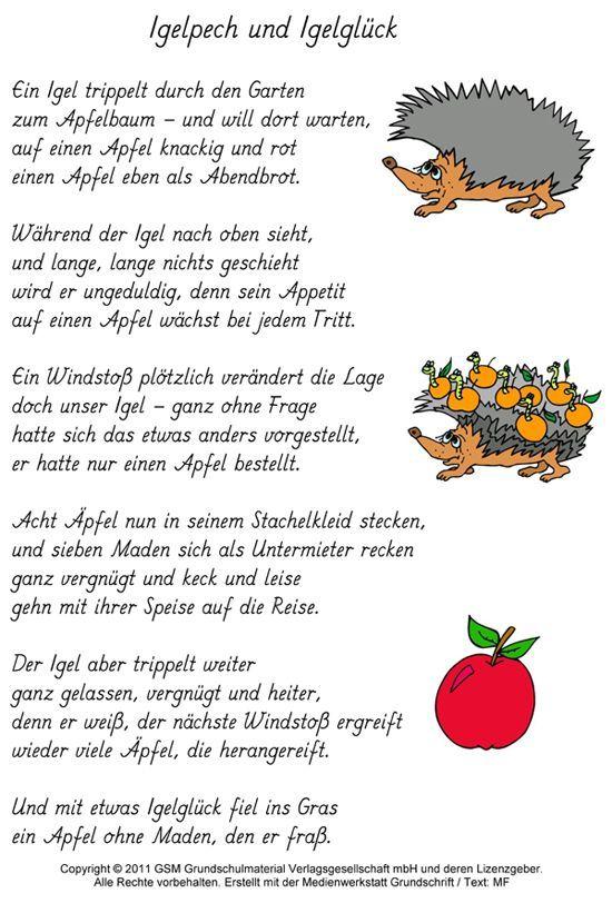 Geschichten Und Gedichte Gedicht Igelpech Und Igelgluck Medienwerkstatt Wissen 2006 2017 Medienwerkstatt In 2020 Kinder Gedichte Gedichte Fur Kinder Herbstgeschichten