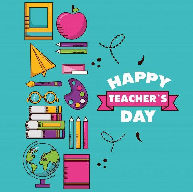 Fondo De Dia De Maestros De Diseno Plano Descargar Vectores Gratis Happy Teachers Day Card Teachers Day Card Happy Teachers Day