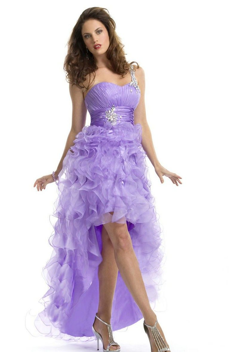 Amazing styles one shoulder ruched cascading ruffles lavender prom