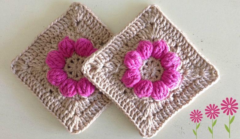 Un Granny square a crochet con flor en el centro, super fácil ...