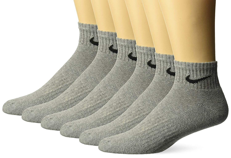 Nike performance cushion quarter socks with bag 6 pairs