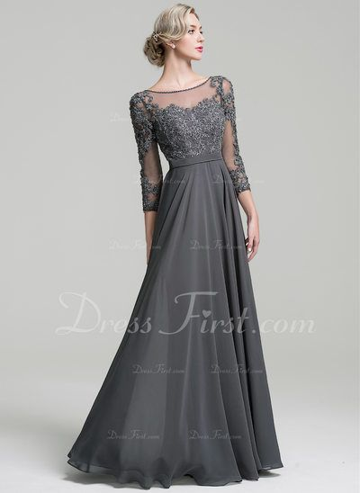 750365f2f11d A-Line/Princess Scoop Neck Floor-Length Chiffon Mother of the Bride Dress  With Beading Sequins (008091949)