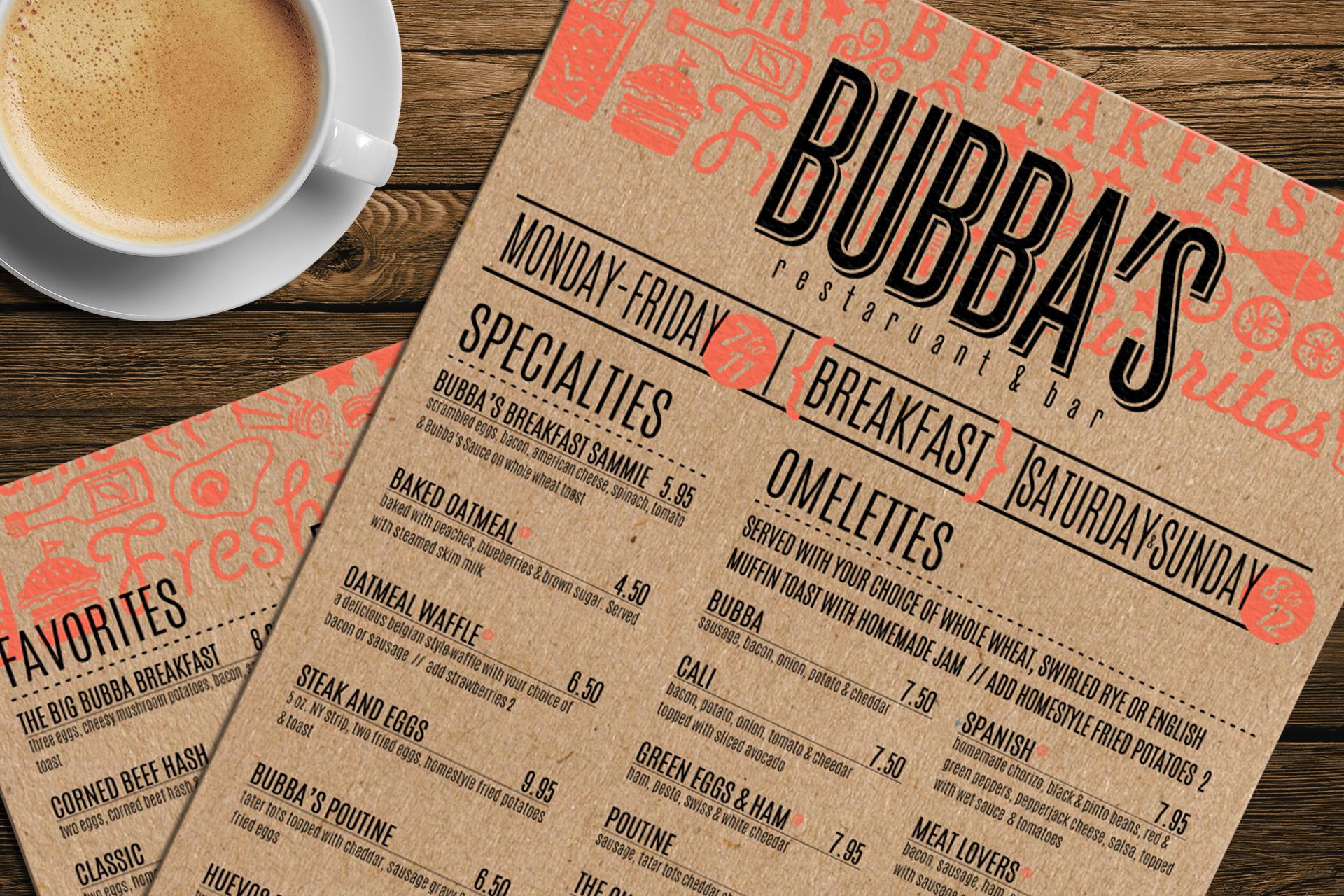 BubbaS Breakfast Menu On Behance  Grc O