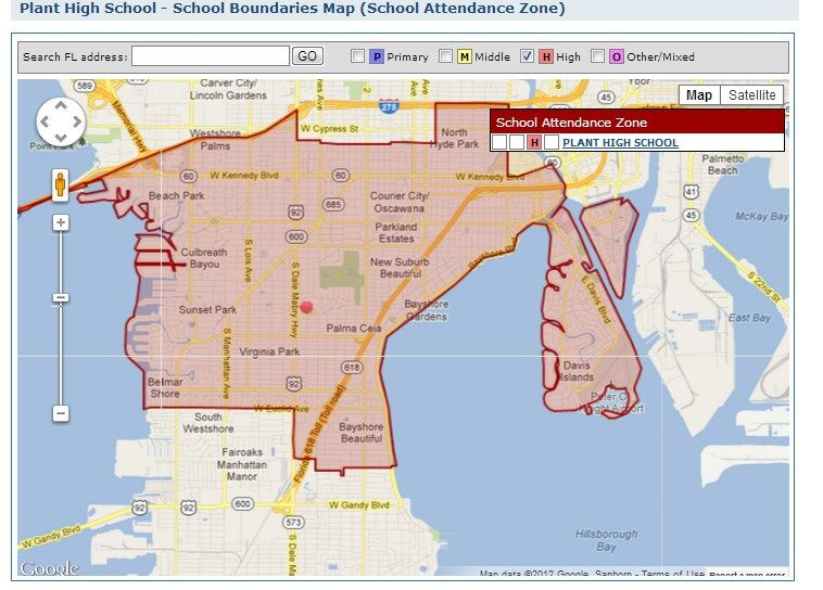 Florida School Districts Map.Tampa S Plant High School District Map And Homes For Sale Fl