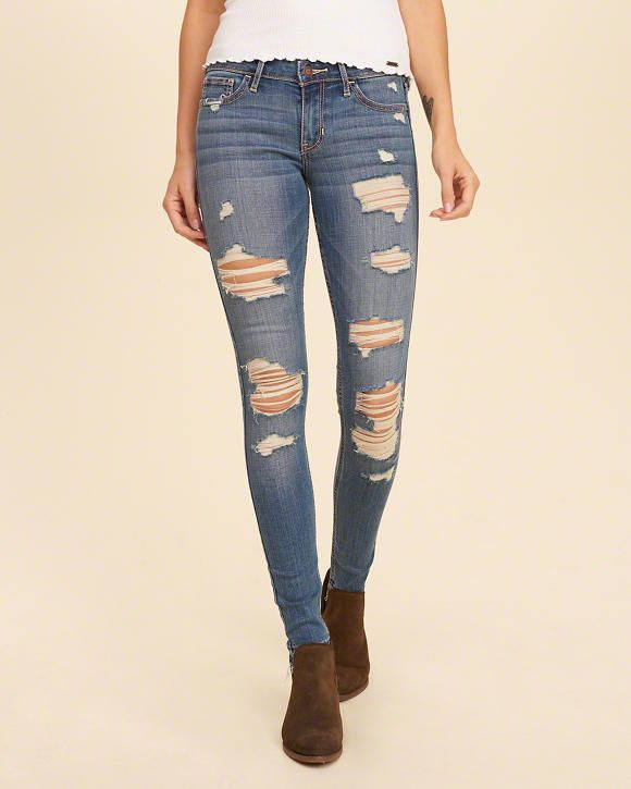Hollister Shredded Low-Rise Super Skinny Jeans- Size 1 ...