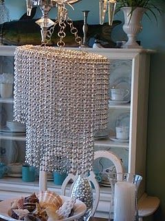 DIY chandelier using wire wreath form and beads | Home Renos ...