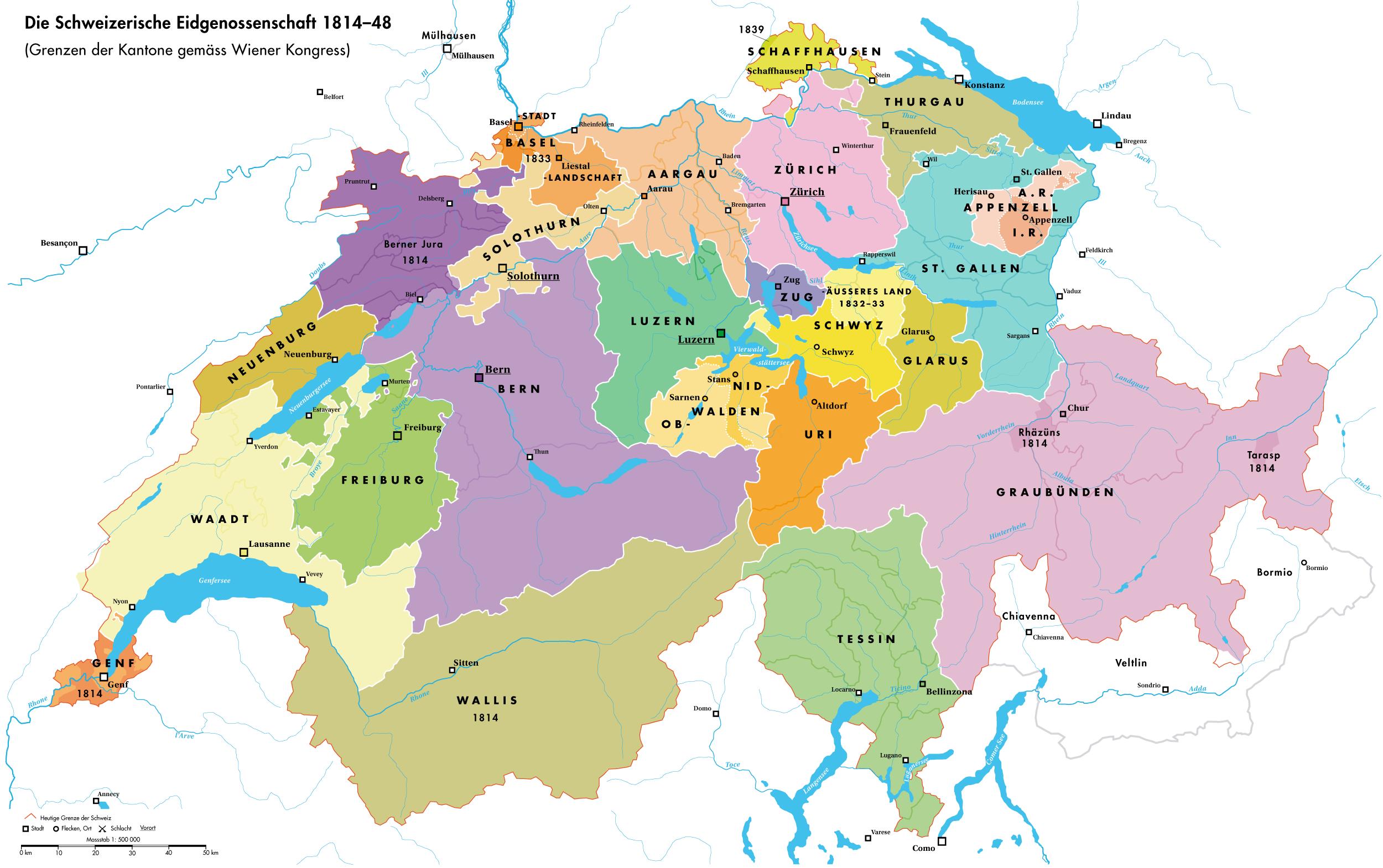 The Swiss Confederacy 1814 1848 Maps Pinterest Switzerland