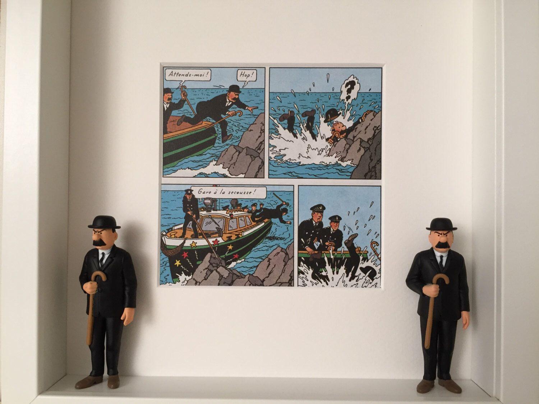Thomson und Thompson, gerahmte Abbildung u. Hergé Comic Strip l ...