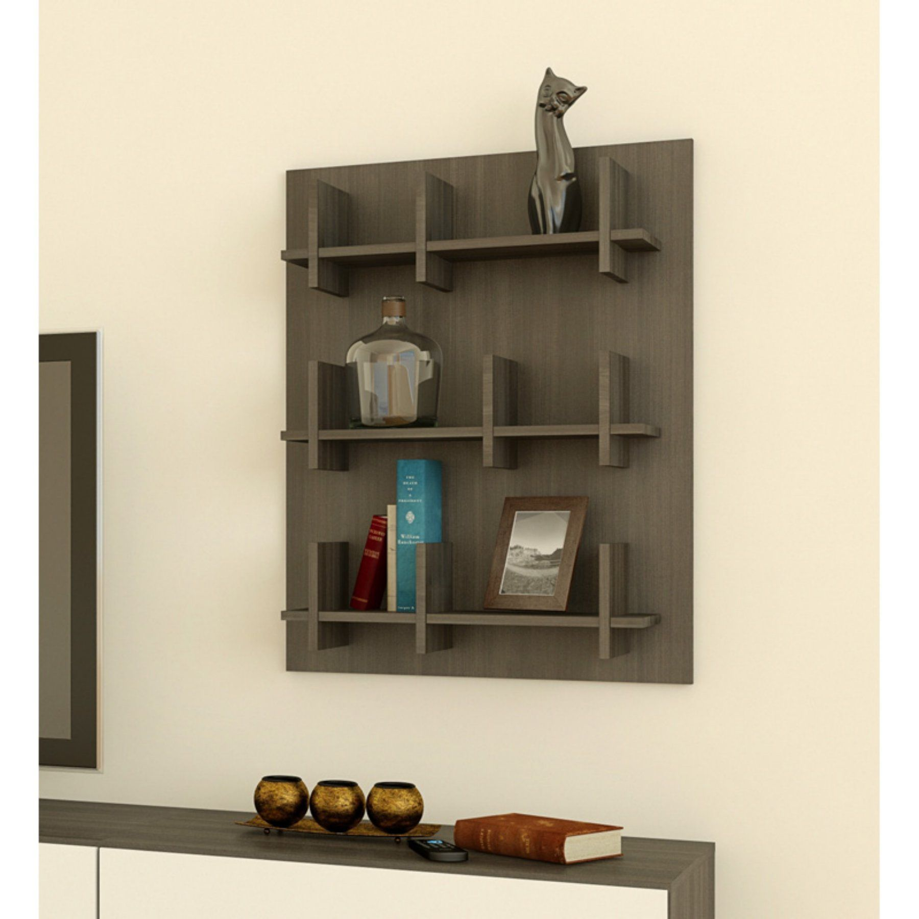 Nexera Allure Wall Panel Bookcase  Ebony  225530