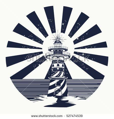 Lighthouse tattoo art, symbol of meditation, hiking, adventures - tattoo template