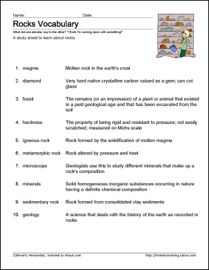 8 Worksheets For Learning Geology Terms Teacher Lesson Plan Book Rock Identification Lesson Plan Book