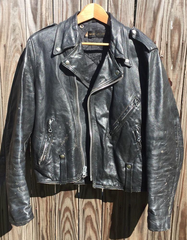 Vintage Post Amf Harley Davidson Black Leather Motorcycle