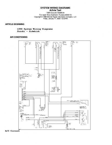 1989 Suzuki Sidekick Wiring Diagram