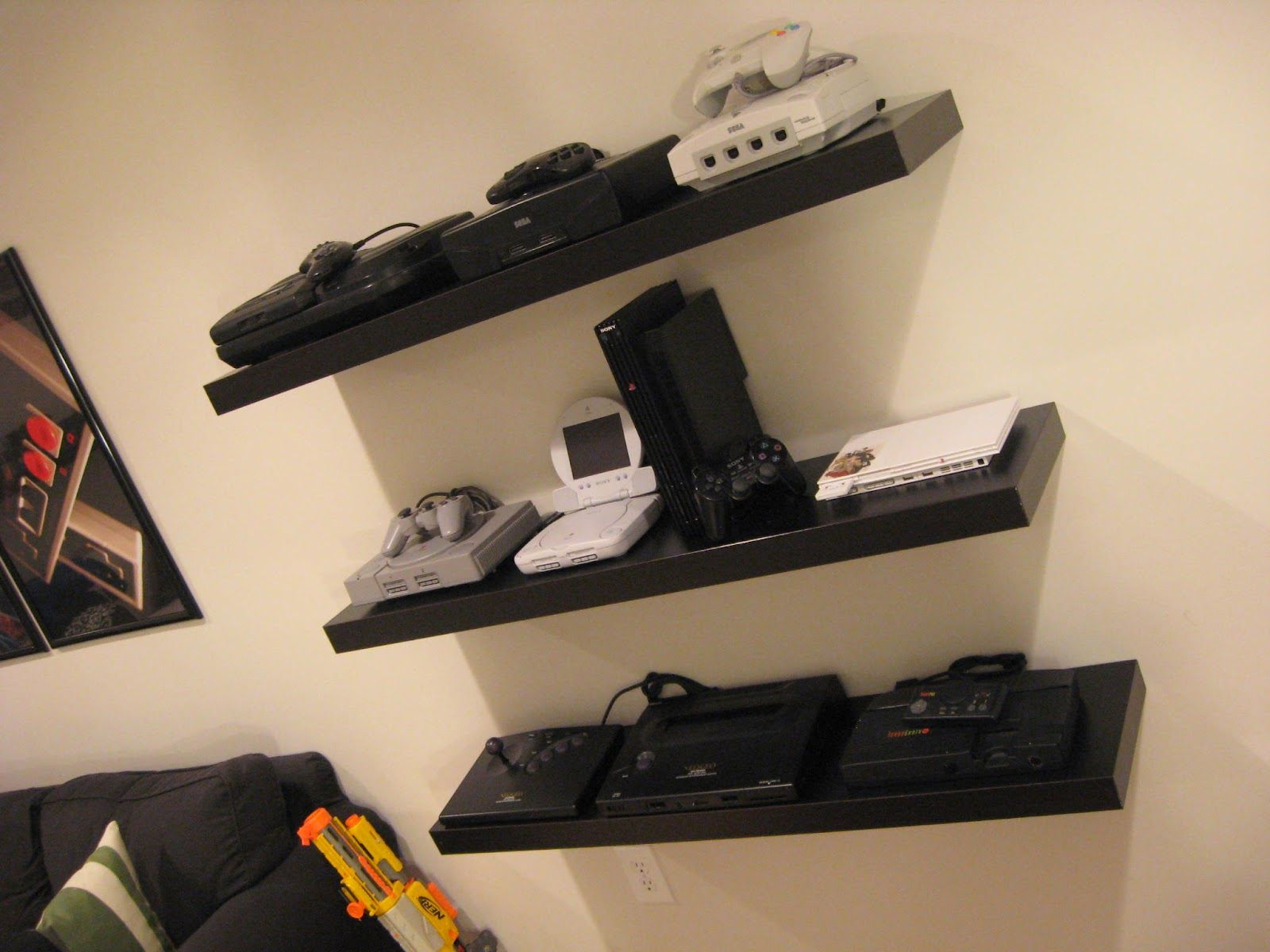 Floating Console Shelves Gaming Room Via Backward Compatible Video Game Blog Video Game Shelf Game Room Video Game Rooms