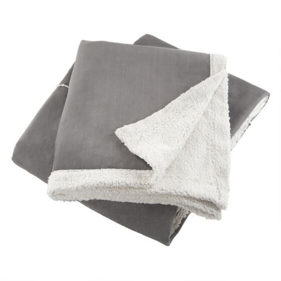 Chamois Faux Suede Throw Grey