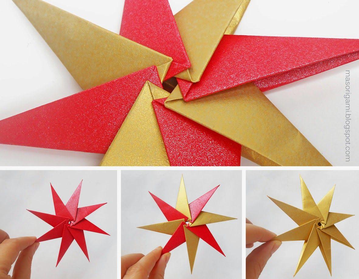 Origami estrellas de origami de 8 puntas plegadas en - Estrellas de papel para navidad ...