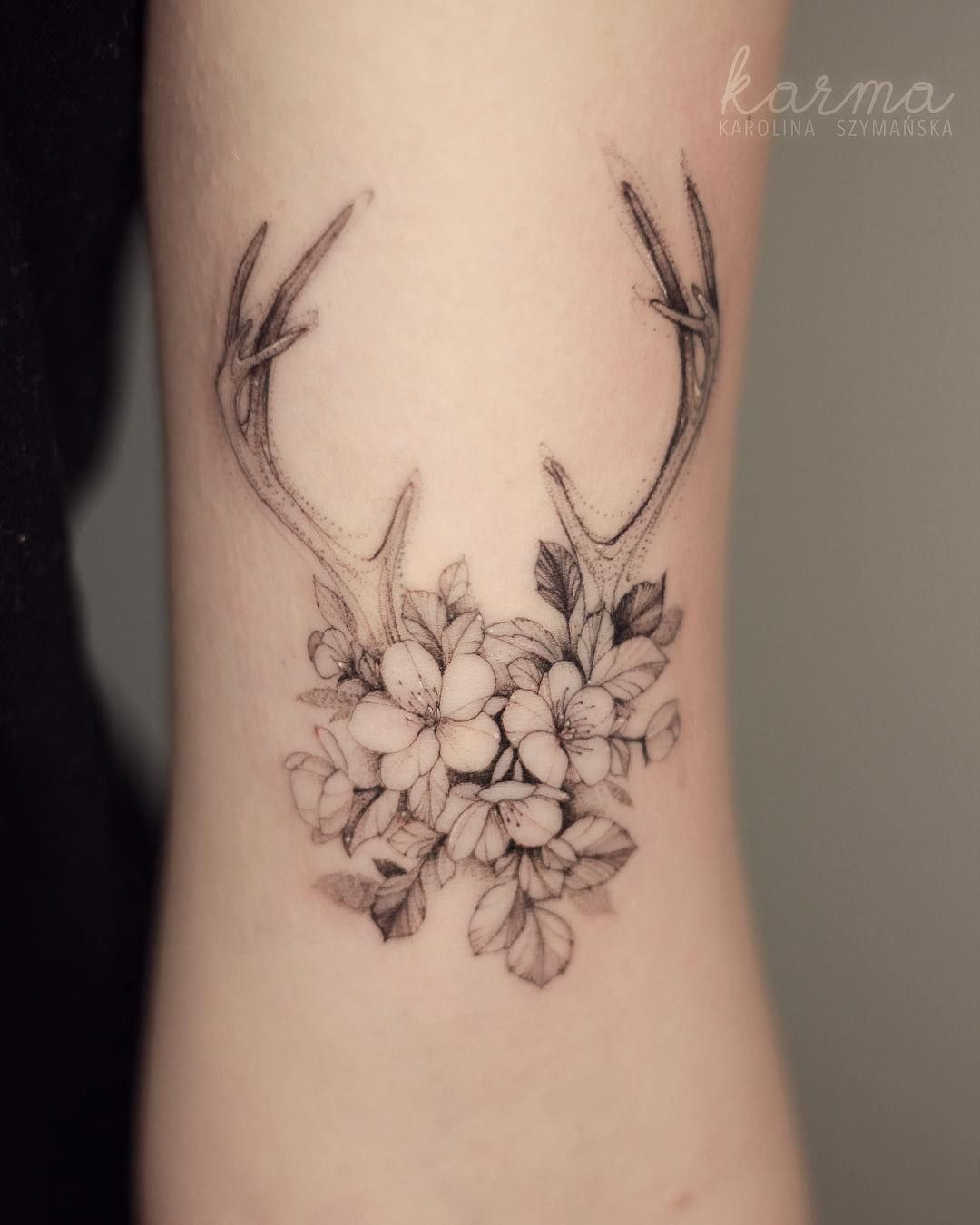 Floral Antler Tattoo