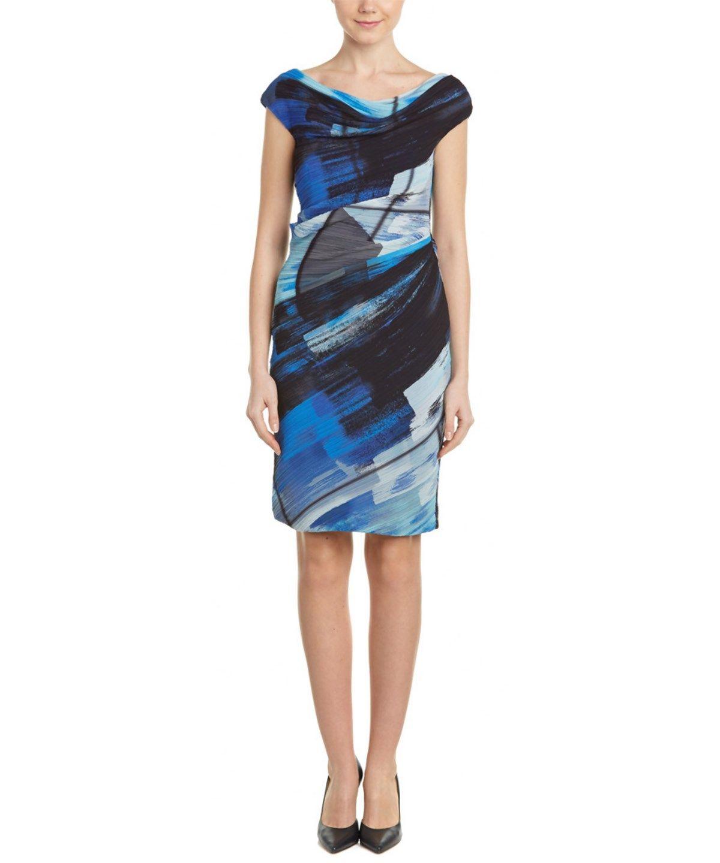 Escada Sheath Dress In Blue Modesens Dresses Sheath Dress Escada [ 1440 x 1200 Pixel ]