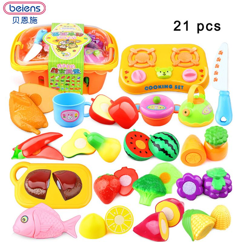 House Plastic Kitchen Pretend Play Simulation Food Cutting Toy Fruit Vegetable