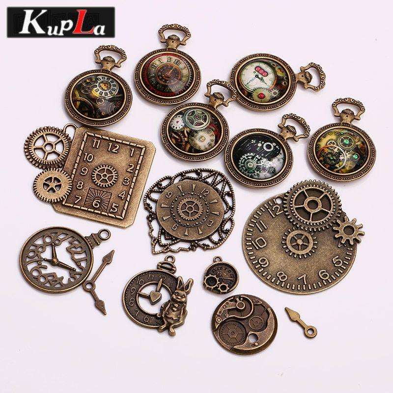 Vintage Metallo Misto Steampunk Orologio Charms Fai Da Te Accessori