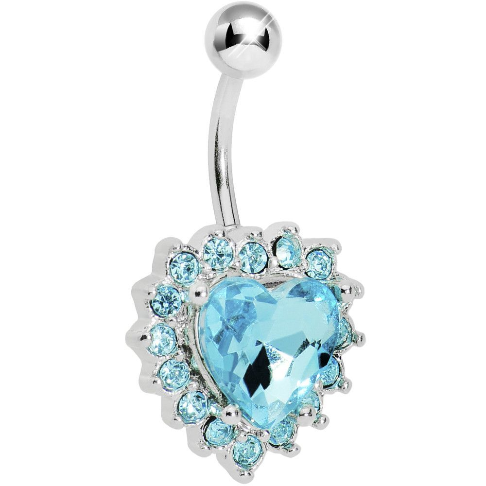 Belly piercing jewelry  Aqua Gem Sweet Surround Princess Heart Belly Ring  Gems and Products