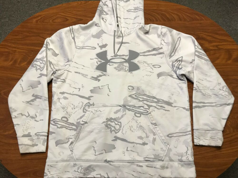b19c68bc4a MENS UNDER ARMOUR WHITE ARCTIC CAMO LOGO ATHLETIC PULLOVER HOODIE ...