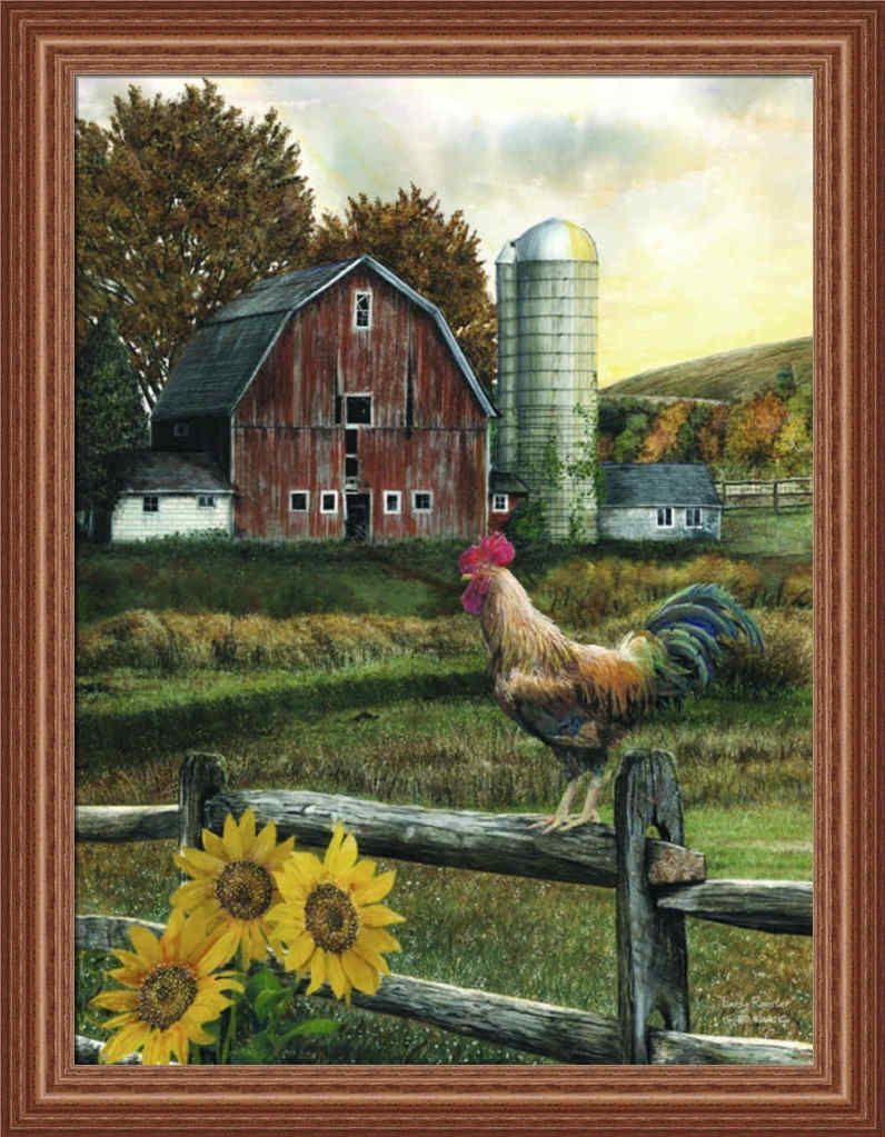 Early rooster by ed wargo country farm red barn framed art print barn framed art by ed wargo country farm red barn framed art jeuxipadfo Choice Image