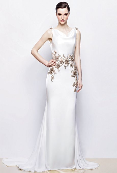 Brides: Enzoani. Gown evokes classic Hollywood glamour with curve ...