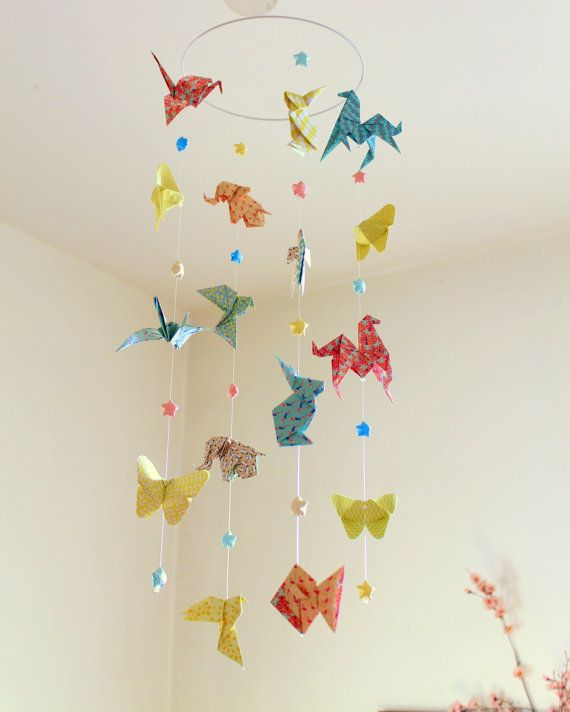 Origami Mobile Baby Animals And Stars Origami Pastel Colors Red
