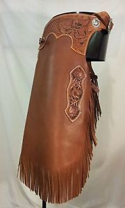 womens chinks | New Custom Western Hand Tooled Leather Chinks Chaps