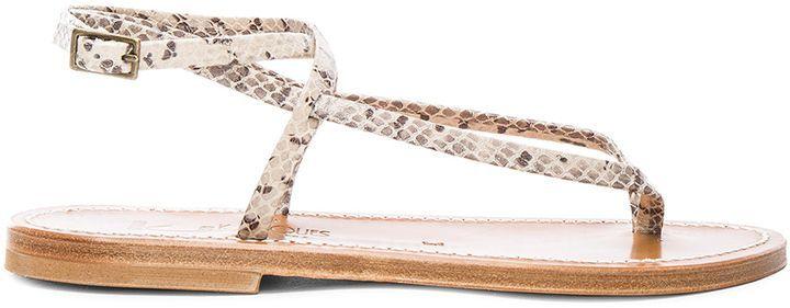 K. Jacques Snakeskin Embossed Leather Delta Sandals